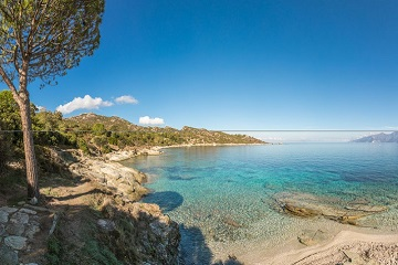 Panoramic view of coastline of Desert des Agriates in Corsica