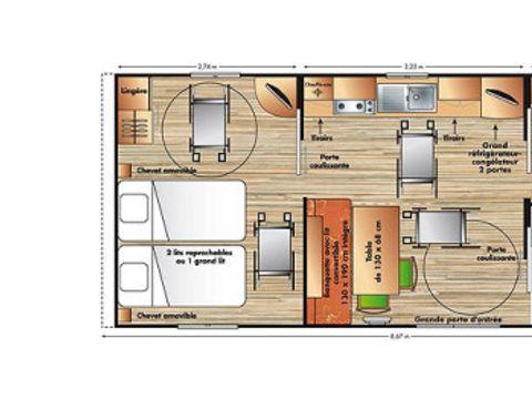 MOBILHOME 6 personnes - PMR 2 chambres + TV (HAND) Accesible aux personnes à mobilité réduites