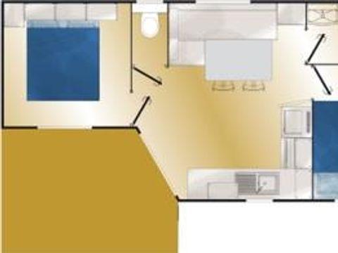 MOBILHOME 4 personnes - Confort 2 chambres - Terrasse semi - couverte