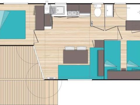 MOBILHOME 5 personnes - 2 chambres, 25m²