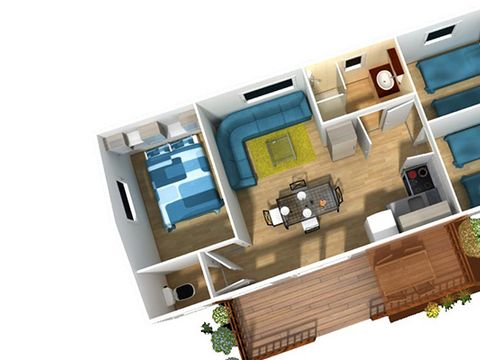 MOBILHOME 6 personnes - Type C, 3 chambres TV