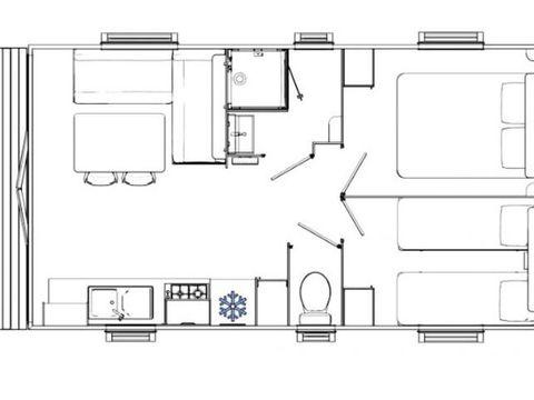 MOBILHOME 6 personnes - Quartier VIP 3 Pièces Climatisé + TV pour 4/6 personnes