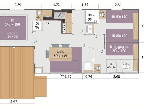 MOBILHOME 6 personnes - RAPIDHOME LODGE 83TG