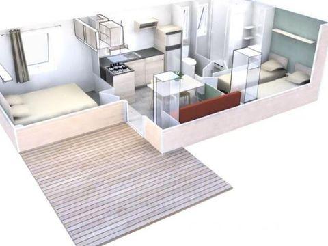 MOBILHOME 6 personnes - Terrasse+ 3 Pièces Climatisé + TV pour 4/6 personnes
