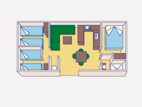MOBILHOME 8 personnes - climatisé - 3 chambres