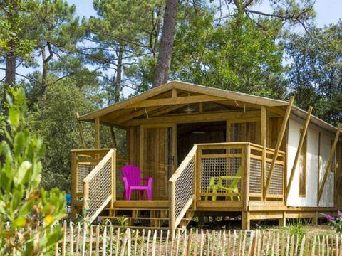 TENTE TOILE ET BOIS 6 personnes - Ecolodge SWEET sur pilotis PREMIUM 43 m² (2 chambres) dont terrasse semi-couverte