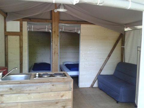 TENTE TOILE ET BOIS 4 personnes - Cabane Lodge Eco sur Pilotis