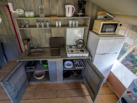 TENTE TOILE ET BOIS 5 personnes - Luxury safari tent sanitar